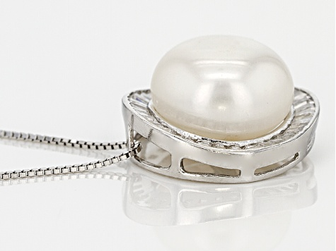 White Cultured Freshwater Pearl, Diamond Simulant Silver Pendant With Chain 12-13mm