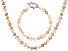 Multi-Color Cultured Freshwater Pearl Silver Necklace And Bracelet Set