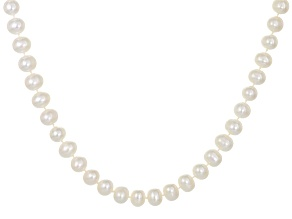 White Cultured Freshwater Pearl Rhodium Over Silver Necklace