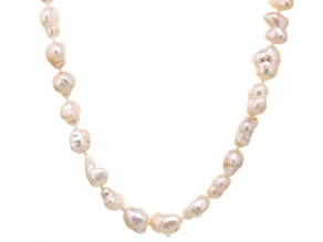 Baroque White Cultured Freshwater Pearl Endless Strand Necklace 48 inch
