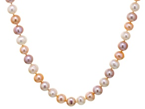 Multi-Color Cultured Freshwater Pearl Silver Strand Necklace 24 inch