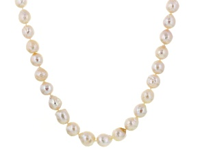 White Cultured Freshwater Pearl Silver Strand Necklace 18 inches