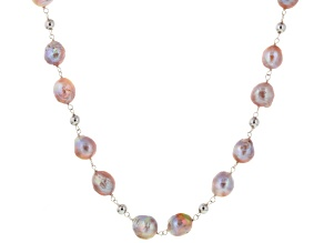 Lavender Multi-Color Cultured Freshwater Pearl Silver Station Necklace 30