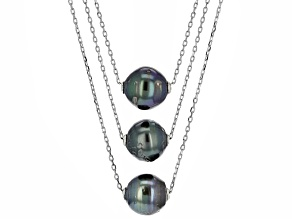 Cultured Tahitian Pearl Rhodium Over Silver Adjustable Necklace 16 inch