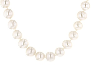 White Cultured Freshwater Pearl Sterling Silver Strand Necklace 18 inch