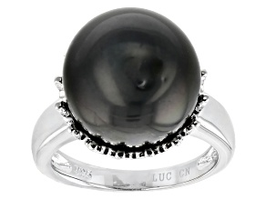 Round Cultured Tahitian Pearl Sterling Silver Ring