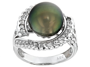 Cultured Tahitian Pearl With White Topaz Sterling Silver Ring