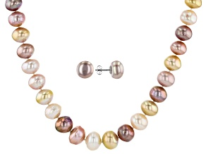 Cultured Kasumiga Pearl 14K White Gold Necklace And Earring Set 10-13mm