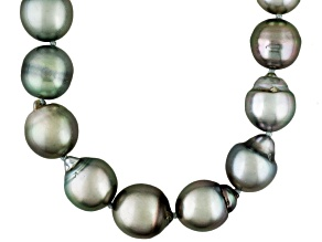 Silver Cultured Tahitian Pearl Rhodium Over Silver Strand Necklace 18 inch