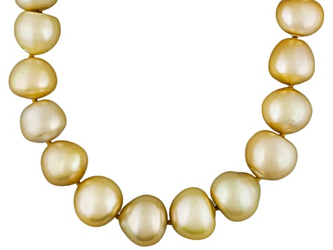 Golden Cultured South Sea Pearl 14k Yellow Gold Strand Necklace 18 inch