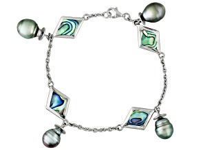 Cultured Tahitian Pearl, Mother-Of-Pearl Silver Bracelet 7.5 inch