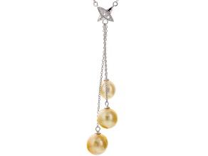Golden Cultured South Sea Pearl, White Topaz Silver Dangle Necklace