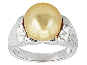 Golden Cultured South Sea Pearl Rhodium Over Silver Ring