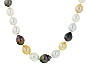 Cultured Tahitian Pearl, Cultured South Sea Pearl Yellow Gold Necklace