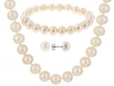 White Cultured Freshwater Pearl Silver Necklace, Bracelet, Earring Set