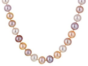 Multi-Color Cultured Freshwater Pearl Sterling Silver Strand Necklace 18 inch