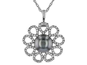 Cultured Tahitian Pearl With Zircon Rhodium Over Silver Pendant