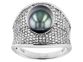 Cultured Tahitian Pearl With Zircon Rhodium Over Silver Ring