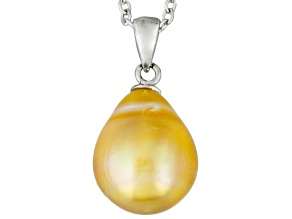 Golden Cultured South Sea Pearl Rhodium Over Sterling Silver Pendant 10mm