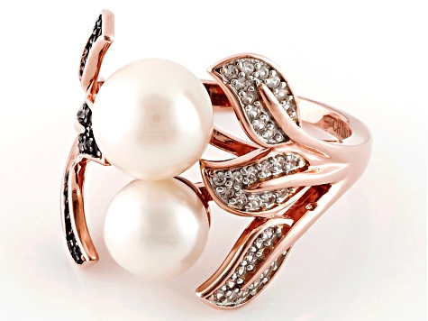 Cultured Freshwater Pearl And Spinel And Zircon 18k Rose Gold Over Silver Ring