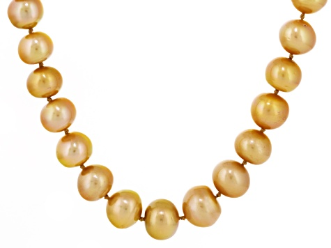 Golden Cultured South Sea Pearl 14k Yellow Gold Strand Necklace 20 inch