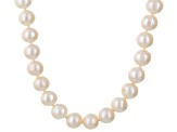 White Cultured Freshwater Pearl Sterling Silver Strand Necklace 24 inch