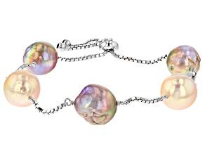 Natural Cultured Freshwater Pearl Sterling Silver Sliding Adjustable Bracelet