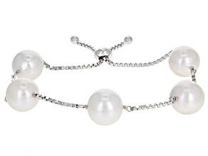 White Cultured Freshwater Pearl Sterling Silver Sliding Adjustable Bracelet