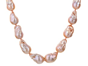 Peach Cultured Freshwater Pearl Rhodium Over Silver Necklace 18 inch