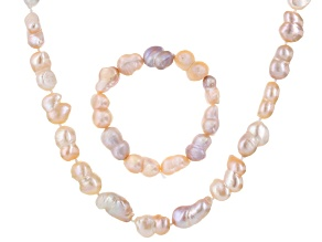 Multi-Color Cultured Freshwater Pearl Rhodium Over Silver Jewelry Set