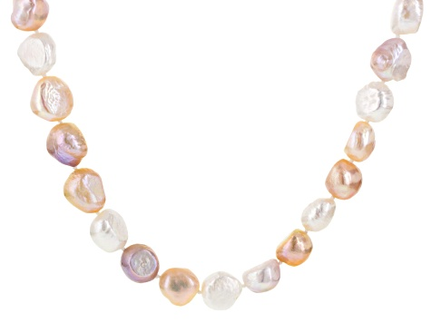 Natual Multi-Color Cultured Freshwater Pearl Rhodium Over Silver Necklace