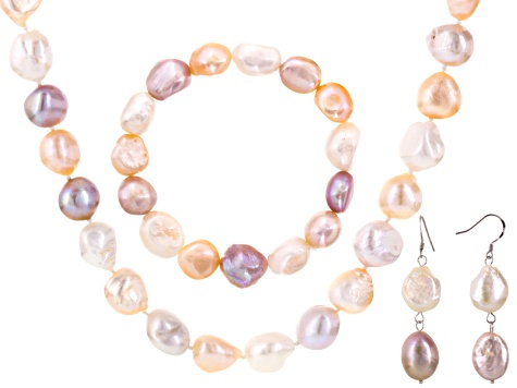 Natural Multi-Color Cultured Freshwater Peal Rhodium Over Silver Jewelry Set