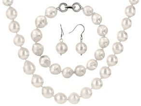 Cultured Freshwater Pearl With Diamond Simulant Rhodium Over Silver Jewelry Set