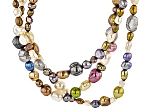 Multi-Color Cultured Freshwater Pearl Silver Multi-Strand Necklace 36 inch