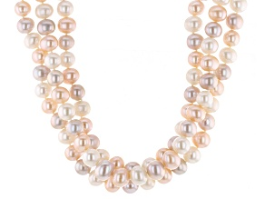 Multi-Color Cultured Freshwater Pearl Silver Multi-Strand Necklace 18 inch