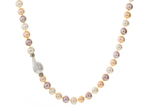 Cultured Freshwater Pearl, Diamond Simulant Silver Necklace 18 inch