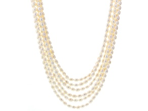 White Cultured Freshwater Pearl Silver Multi-Strand Necklace