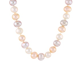 Multi-Color Cultured Freshwater Pearl Silver Strand Necklace 44 inch