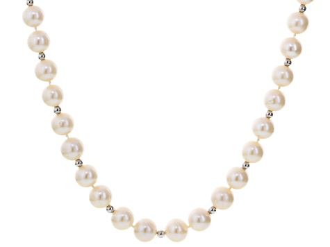 White Cultured Freshwater Pearl Rhodium Over Silver Strand Necklace