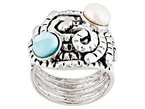 White Cultured Freshwater Pearl, Larimar Sterling Silver Ring