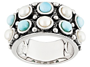 White Cultured Freshwater Pearl, Larimar Rhodium Over Silver Band Ring