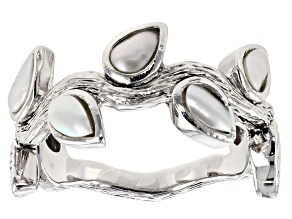 White Cultured Freshwater Pearl Rhodium Over Sterling Silver Leaf Band Ring