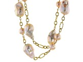 Cultured Freshwater Pearl 18k Gold Rhodium Over Multi-Strand Station Necklace