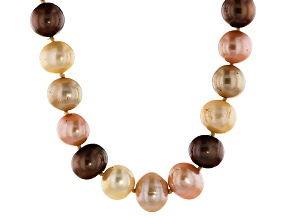 Multi-Color Cultured Freshwater Pearl 18k Gold Over Sterling Silver Station Necklace