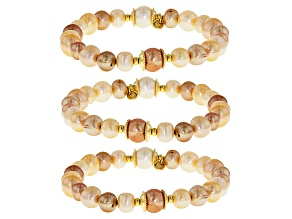 Multi-Color Cultured Freshwater Pearl 18k Gold Over Sterling Silver Stretch Bracelet Set Of 3