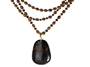 Cultured Freshwater Pearl, Hematine, Tiger Eye, Tiger Iron 18k Yellow Gold Over Silver Necklace