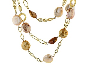 Multi-Color Cultured Freshwater Pearl, 18k Gold Over Silver Necklace 24 inch