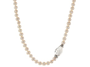 Cultured Freshwater Pearl, Diamond Simulant, Crystal Rhodium Over Silver Necklace