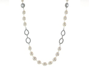 White Cultured Freshwater Pearl, Diamond Simulant, Crystal Rhodium Over Silver Necklace