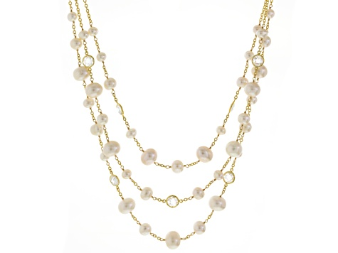 White Cultured Freshwater Pearl, Crystal 18k Gold Over Silver Necklace 18 inch